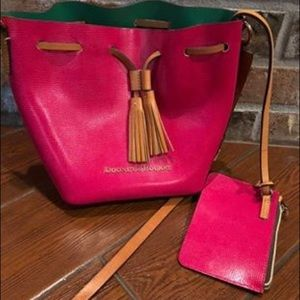 Pink Dooney & Bourke leather bucket bag